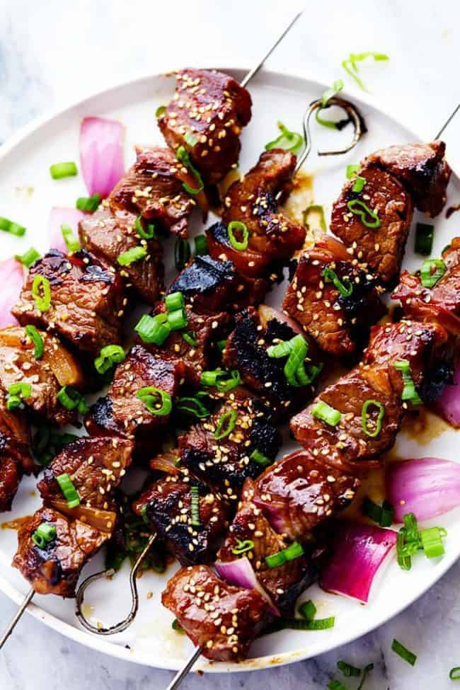 Grilled Asian Garlic Steak Skewers Recipe | The Recipe Critic