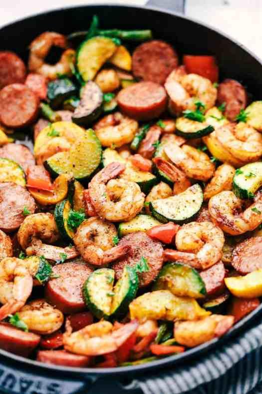 Cajun Shrimp and Sausage Vegetable Skillet 3