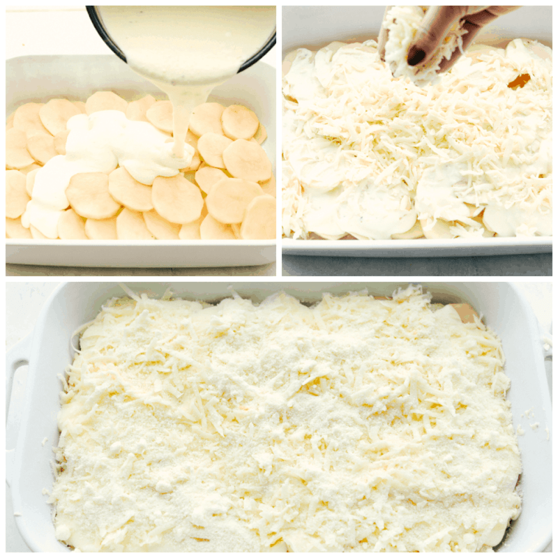 Layering potatoes, cream sauce and cheese for perfect scalloped potatoes.