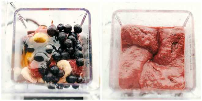 Two blenders showing the process of making the very berry acai bowl.