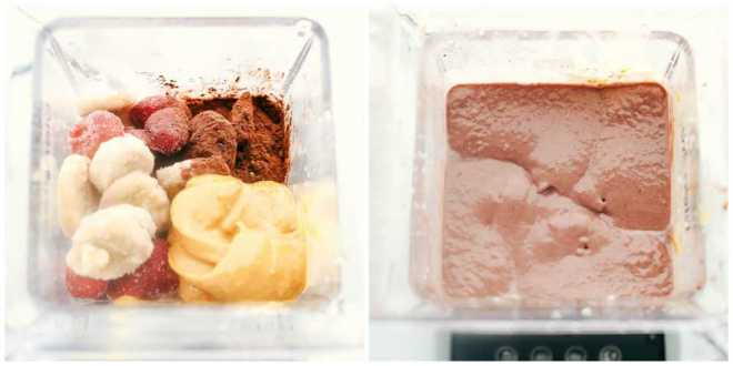 Two blenders showing the process of the Peanut Butter Chocolate acai bowl.