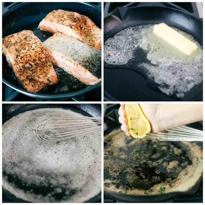The process of cooking the brown butter lemon salmon in a skillet