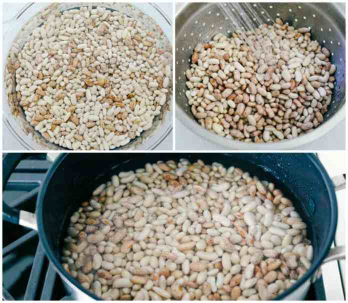 Steps to soak beans for baked beans.