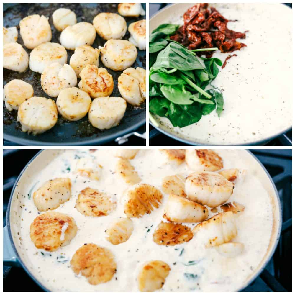 Pan seared creamy garlic Tuscan sauce with spinach and sun-dried tomatoes