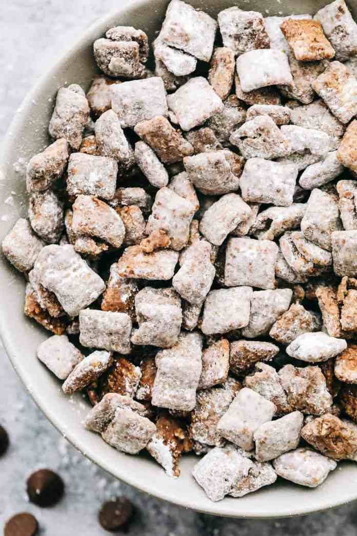 Classic muddy buddies, is cereal mixed with chocolate, peanut butter and powdered sugar.