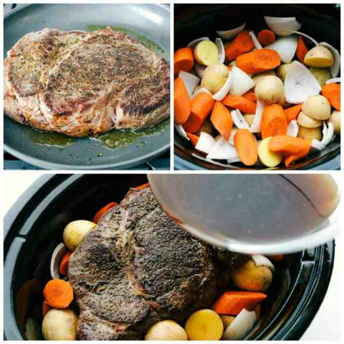 The steps to making melt in your mouth pot roast with tender carrots and potatoes