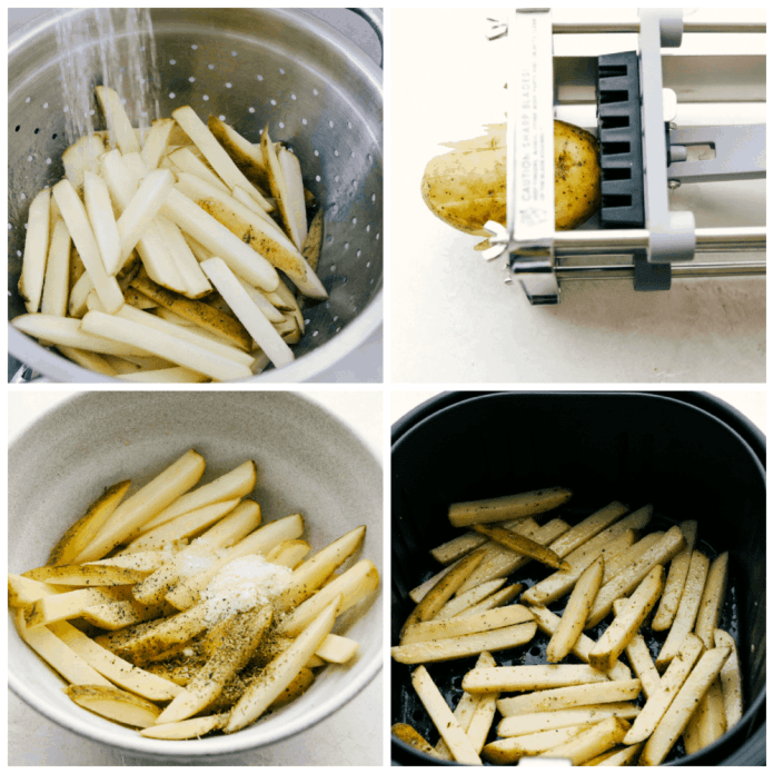 Rinsing, cutting, and making air fryer french fries.