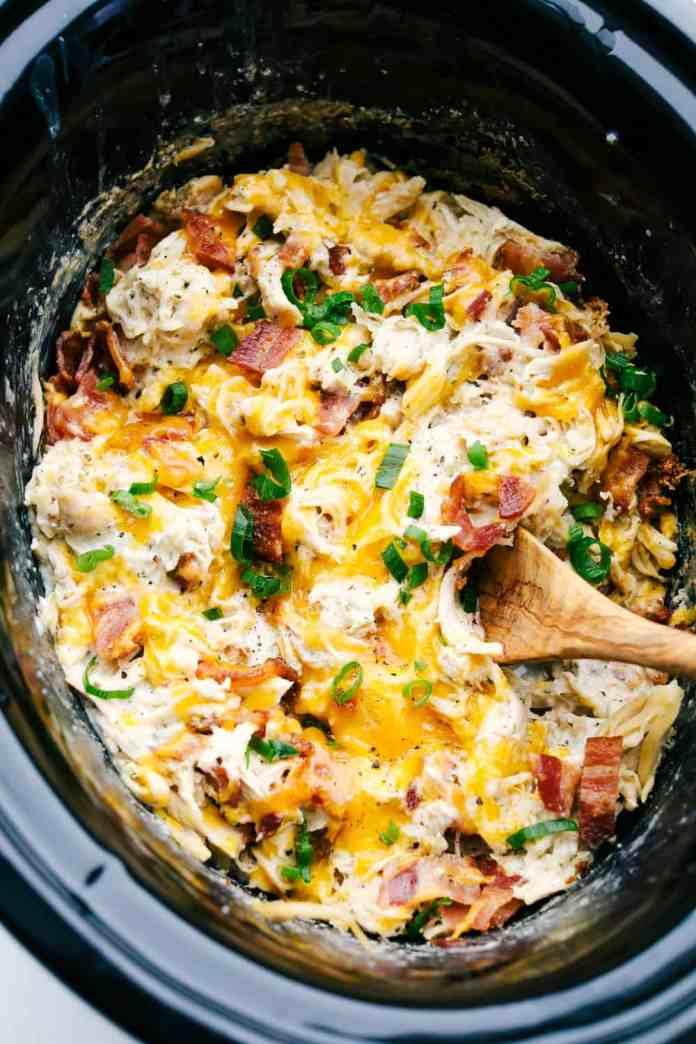 Creamy, rich addicting Slow Cooker Crack Chicken with cheddar, bacon and ranch