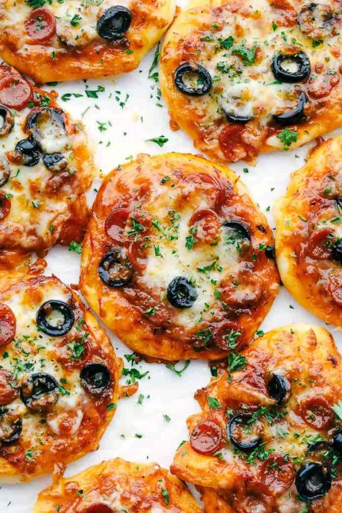 Air fryer biscuit pizzas with pepperoni and olives.