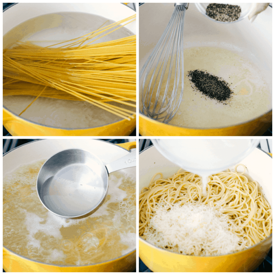 Noodles in boiling water, making the sauce and adding the cheese for Caico de Pepe.