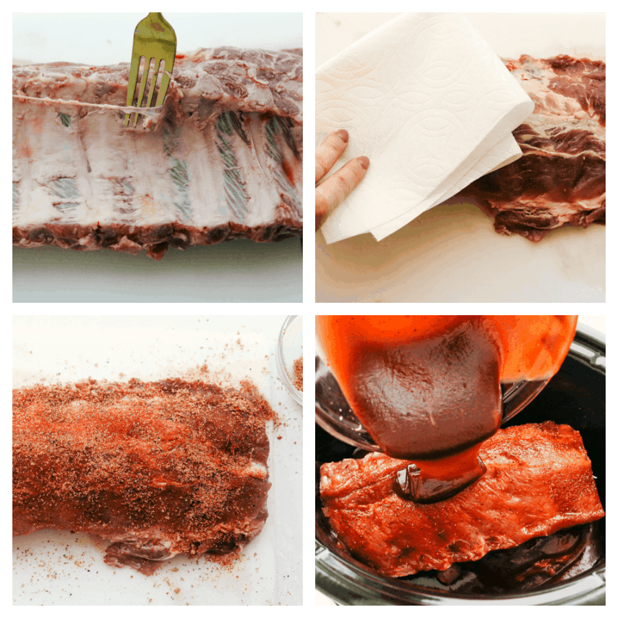 Prepping the ribs by removing the skin, adding the ruba nd then the sauce.