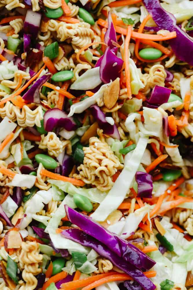 Close up of the Asian Ramen Salad to show color and texture.