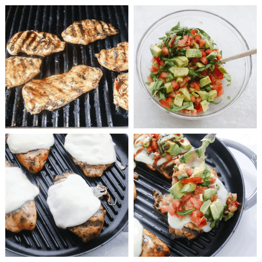Grilling the chicken, topping it with cheese, making the avocado topping and placing at the chicken.