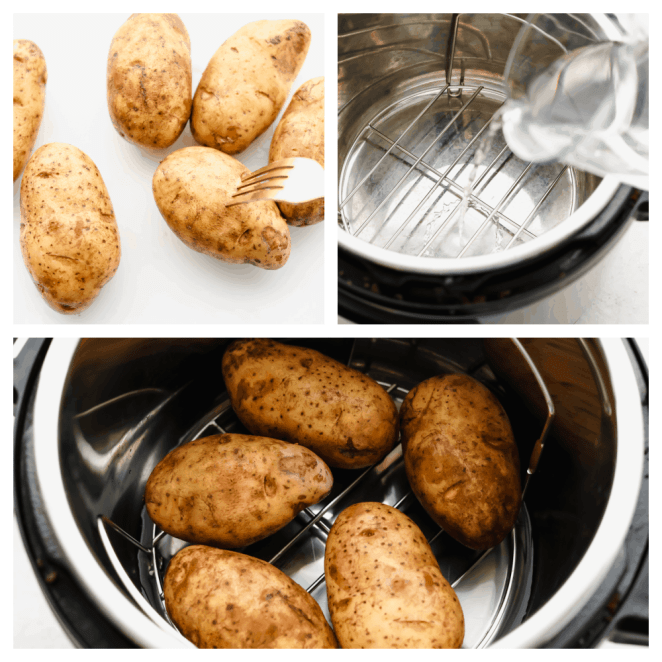 Process shots of adding potatoes to Instant Pot.