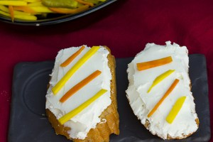 Aamba Haldi on Goat's Cheese toast.