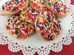 shortbread sprinkles with coconut cream frosting