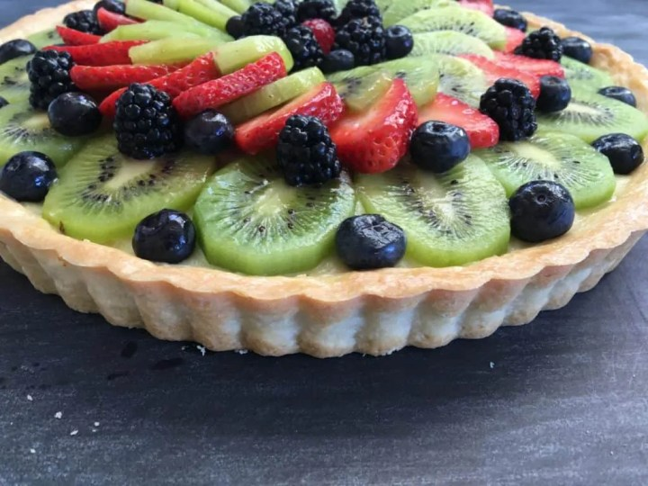 Fresh Fruit Tart With Vanilla Pastry Cream And Shortbread Cookie Crust