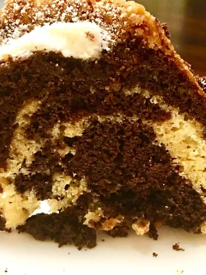 Vanilla and cocoa bundt cake