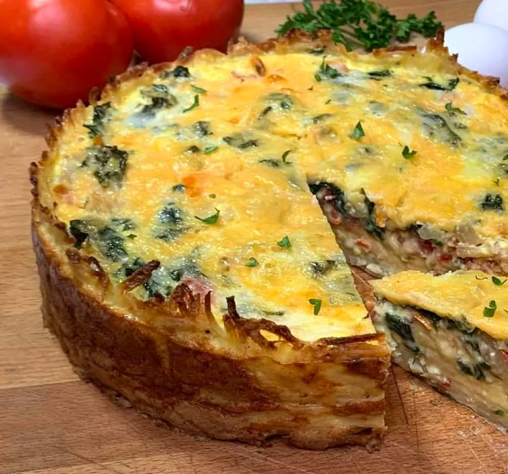 Hash brown crusted Quiche