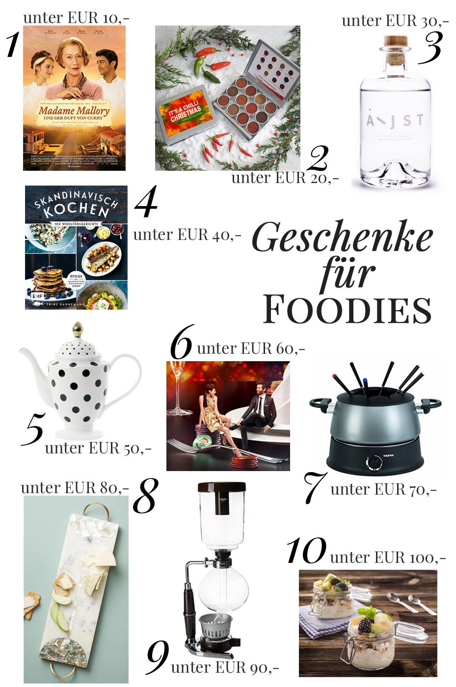 Geschenkeliste für Foodies