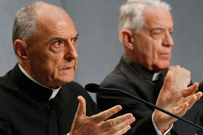 Msgr. Pio Vito Pinto, dean of the Roman Rota, a Vatican court, spoke at a press conference for the release of Pope Francis' documents concerning changes to marriage annulments at the Vatican Sept. 8. Also pictured is Jesuit Father Federico Lombardi, the Vatican spokesman. CNS Photo