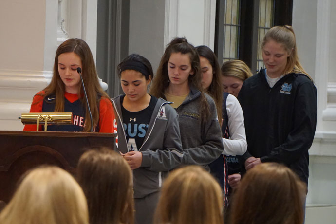 Young women who play basketball for local Catholic high schools gathered on the evening of Jan. 24 at the Ursuline Motherhouse chapel to pray the rosary and hear about the role of their faith in sports and in life. The prayer service, called a Rosary Rally by the organizers, was sponsored by SportsLeader, a Louisville-based Catholic organization. Archbishop Joseph E. Kurtz presided at the service. A similar Rosary Rally for boys was held before fall sports commenced in 2015.