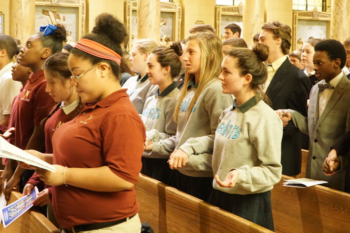 """Students from schools in the Archdiocese of Louisville attended the annual Catholic Schools Week Mass Jan. 26 at St. Agnes Church, 1920 Newburg Road. The theme of the national week of recognition is """"Catholic Schools: Communities of Faith, Knowledge, and Service."""" (Record Photos by Jessica Able)"""