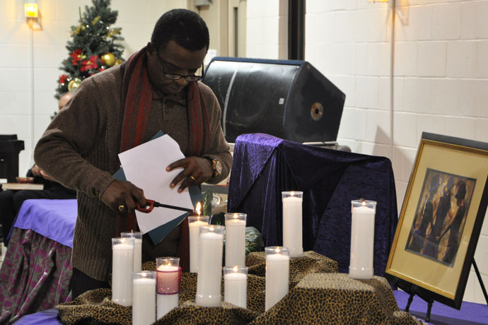 Candles were lit to remember victims of violence at a Service of Remembrance Dec. 7 at the Hines Center at St. Augustine Church. (Record Photos by Jessica Able)