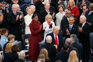 U.S. President-elect Donald Trump is applauded as he arrives for his Jan. 20 swearing-in as the country's 45th president at the U.S. Capitol in Washington. (CNS photo/Rick Wilking, Reuters) See INAUGURATION- Jan. 20, 2017.