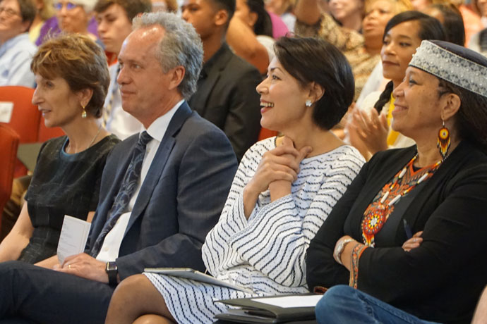 """Alex Gerassimides Fischer, from left, Mayor Greg Fischer, Ann Curry and Attallah Shabazz looked on during a performance at the """"Interfaith Celebration of Music, Song and Soul"""" April 19 at the Cathedral of the Assumption. (Record Photo by Ruby Thomas)"""
