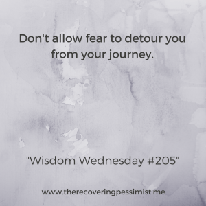 The Recovering Pessimist: Wisdom Wednesday #205 -- You know where you want to go in life. Don't let fear detour you from your journey. | www.therecoveringpessimist.me #amwriting #recoveringpessimist #optimisticpessimist #wisdomwednesday