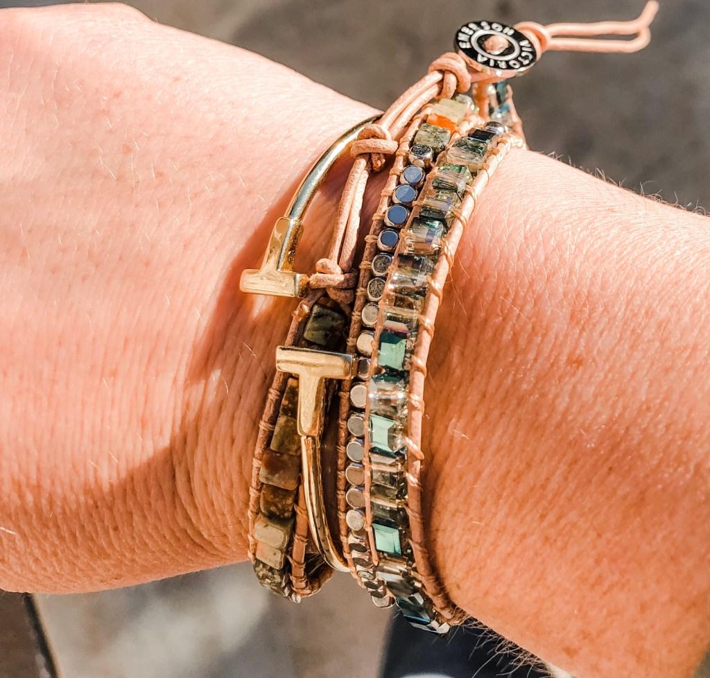 wrap bracelets in green stone
