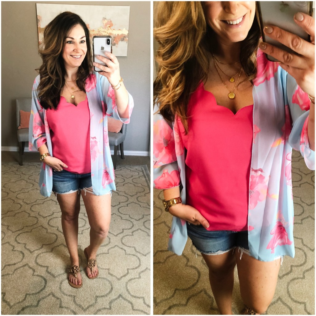 This new pink and blue kimono that is under $16 perfect for spring. Hot pink matches my scallop cami and stretchy distressed denim shorts.