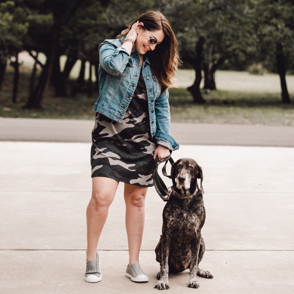 Spring camo tank dress with denim jacket and grey Native shoes.