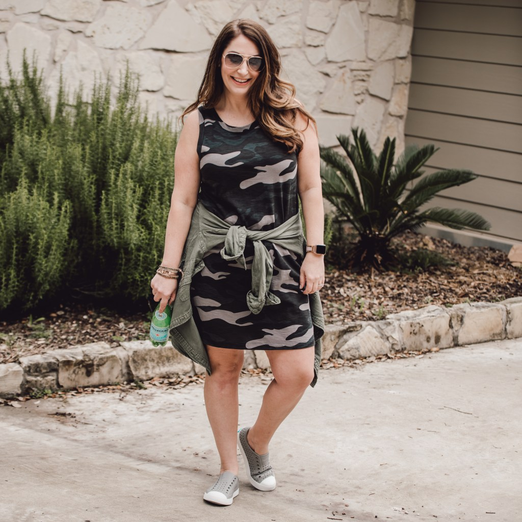 camo tank dress, utility shirt and slip-on shoes makes the perfect spring or summer staple.