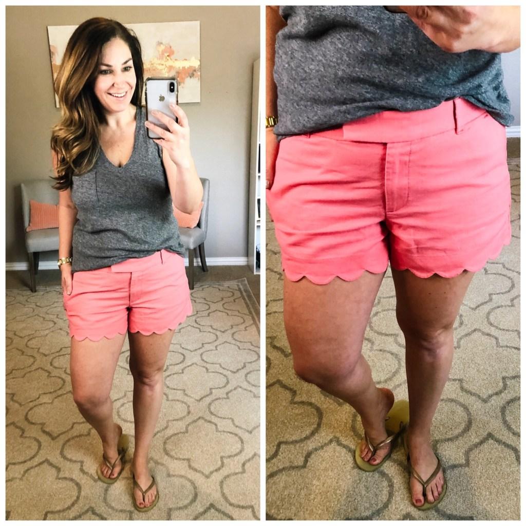 Scallop Edge shorts for curvy moms- J Crew Factory #linenshorts #preppyshorts