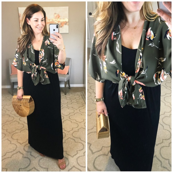 Black Maxi dress styled with a kimono for night out