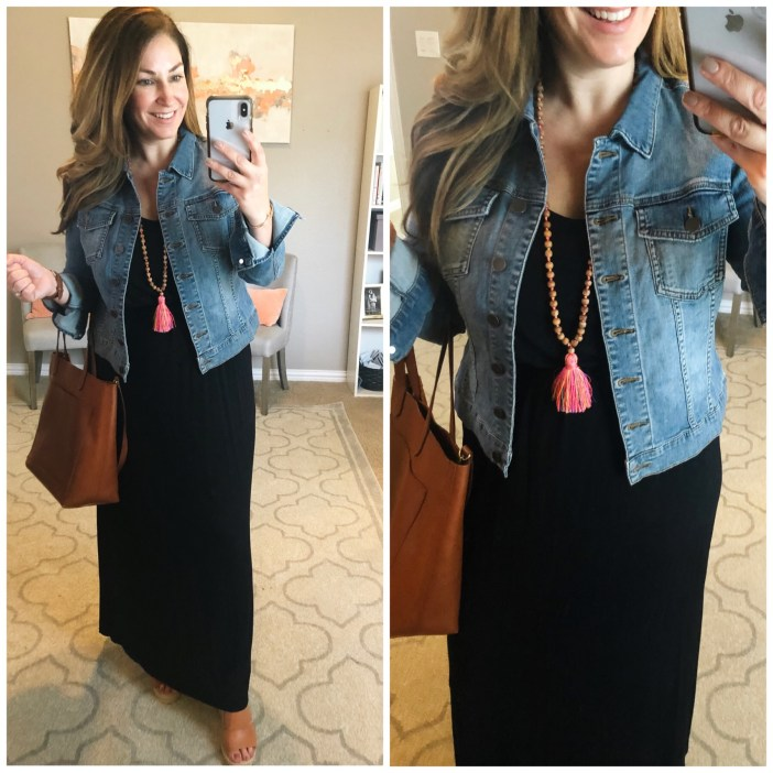 everyday black maxi dress with colorful tassel necklace from Accessory Concierge, Madewell Tote and Neutral leather wedges.