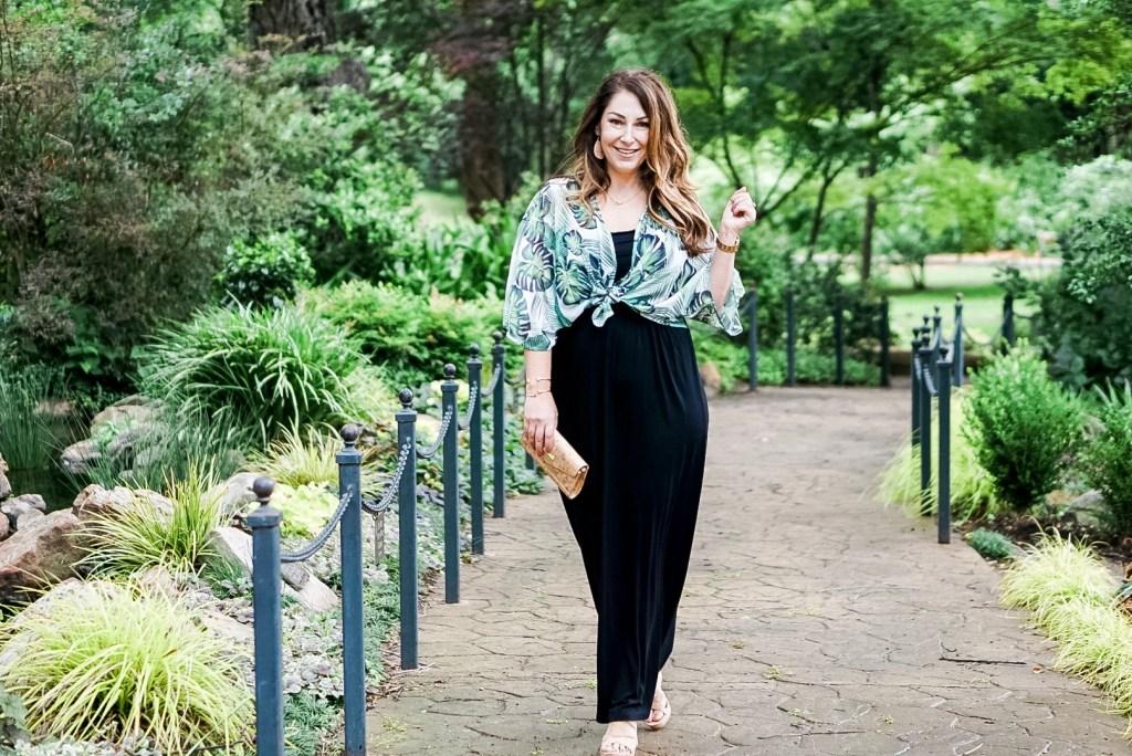 Take your maxi dress up a level with a palm print kimono