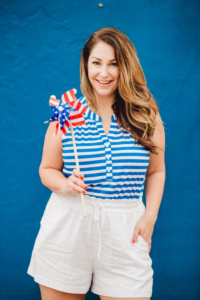 Ready for July 4th! This Henley tank and white linen shorts made the perfect summer 2019 outfit.