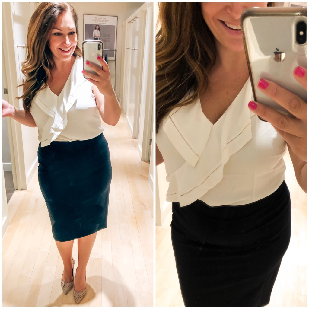Ann Taylor 2019 white ruffle blouse and black pencil skirt
