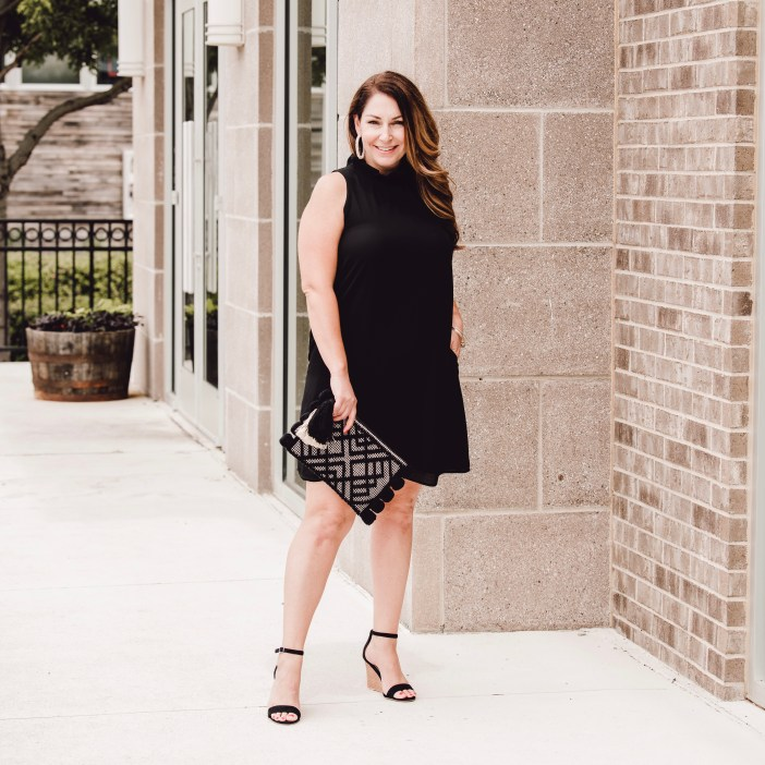 Perfect Dinner Date look with LBD and wedges with Pom Pom clutch at Craft & Vine in Roanoke, TX