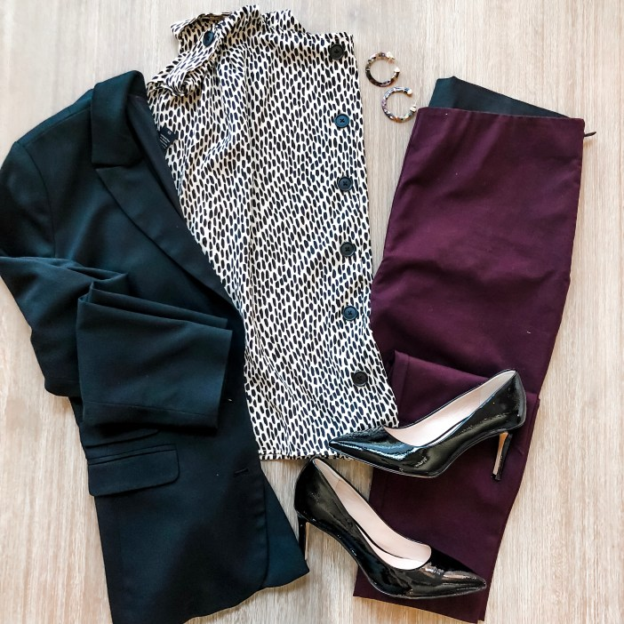 Target business professional look with printed blouse, ankle pants and blazer