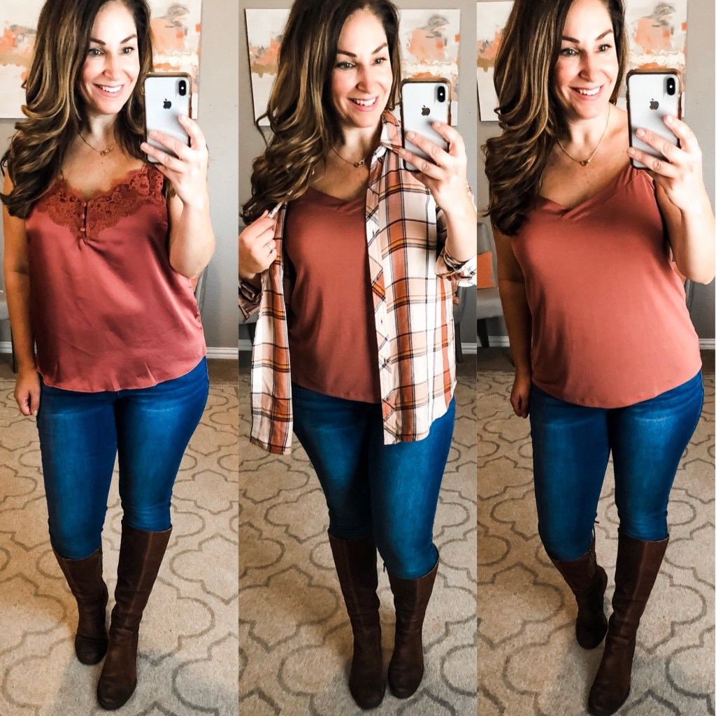 Ready for fall- Rust colored cami with Born boots