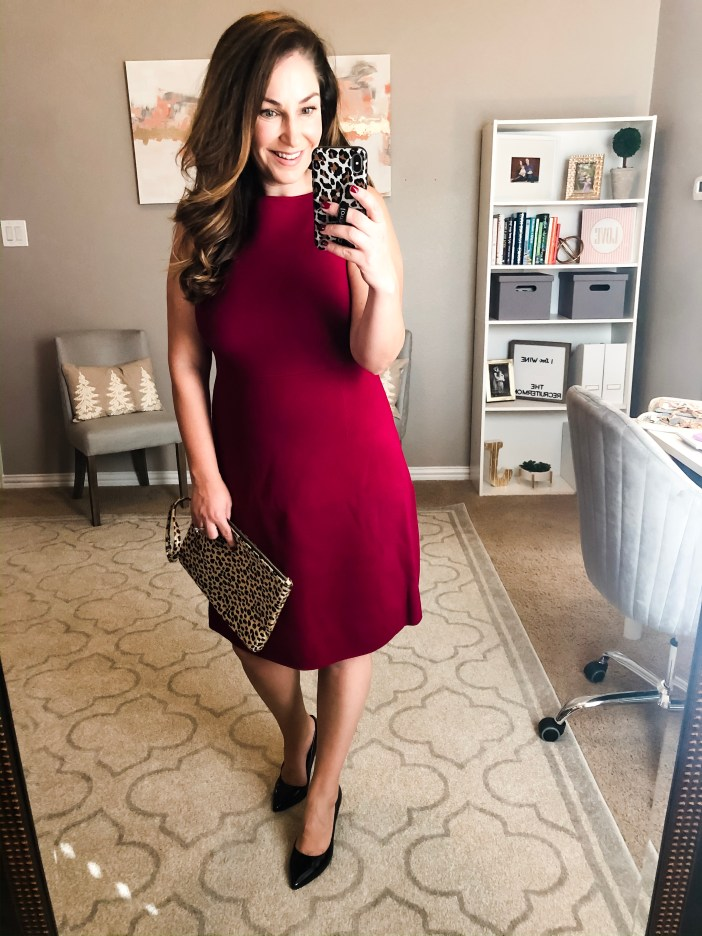 Amazon workwear dress #fitandflare #reddress #workwear #holidaydress