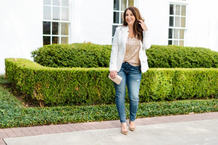 Gibson x Hi Sugarplum Holiday 2019 Collection. Sequin Top and jeans perfect for festive casual events. #sequintop #whiteblazer #holidaycasual #holidayoutfits #winter2019 #winterwhite #leopardheels #holiday2019outfit