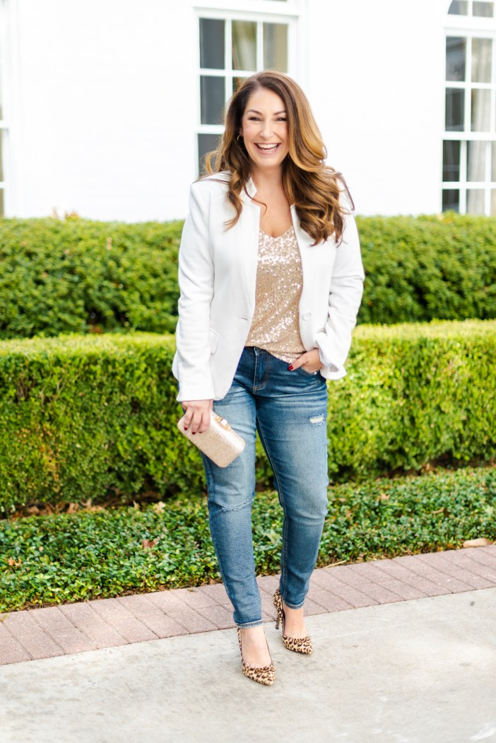 Gibson x Hi Sugarplum Holiday 2019 Collection. Sequin Top and jeans perfect for festive casual events. #sequintop #whiteblazer #holidaycasual #holidayoutfits #winter2019 #winterwhite #leopardheels