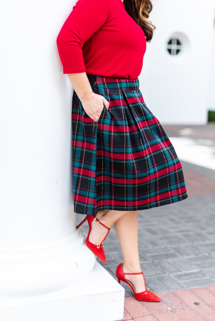 Gibson x Hi Sugarplum Holiday 2019 Collection. Velvet Red ballet neck top and tartan plaid box pleat skirt. #plaidskirt #christmasplaid #christmasoutfit #holidayphotooutfit   #nutcrackeroutfit  #holidayoutfits #winter2019 #holiday2019outfit #redshoes #redpumps #redtstrappump