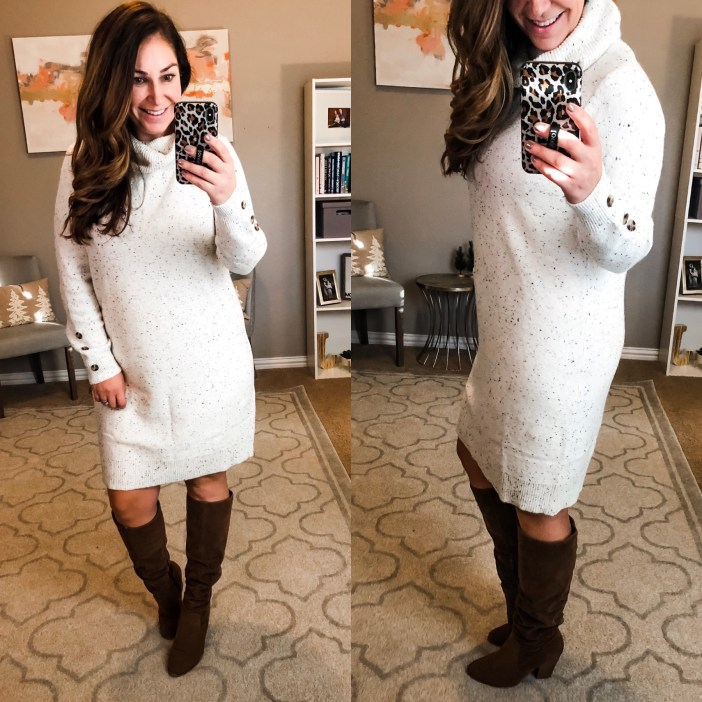 Cream Sweater Dress with tall boots #walmart #walmartfashion #wedressamerica #afforablefashion #sweaterdress