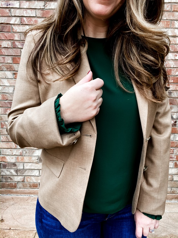 J Crew Factory School boy blazer with LOFT puffed sleeve blouse in green #businesscasual #blazer #classicstyle #workwear
